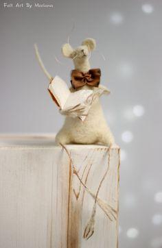 Needle Felt Mouse  Dreamy White Mouse With A by FeltArtByMariana