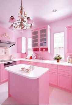 Pretty Pink Room Design Kitchen With Cabinets In Pink And Island And White Countertop And Chandelier And Electric Cooktops And Hood : Adorable Pink Room Design In The House , Home Design and Decor