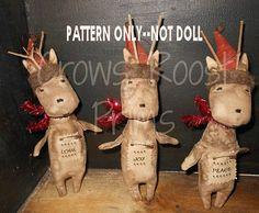 Christmas epattern-NOT DoLL Primitive Deer Ornament 187e
