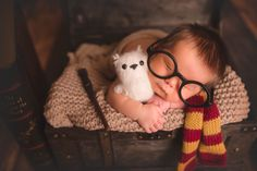 Newborn photography Baby boy Harry Potter Photo Hedwig photoshoot Gryffindor wand