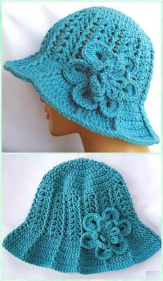 Crochet Ridge Hat with Brim Sun Hat Free Pattern - Adult Sun Free Patterns Crochet Women Sun Hat Free Patterns: Collection of crochet adult brimmed Sun hat, ladies Summer hat, Flower Hat, Floppy hat, Cloche Hat Crochet Hat With Brim, Crochet Adult Hat, Crochet Summer Hats, Bonnet Crochet, Bag Crochet, Crochet Cap, Crochet Baby Clothes, Crochet Woman, Crochet Beanie