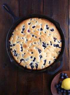 blueberry lemon cake recipe. Prepared and served in a Lodge Cast Iron Skillet. USA Made since 1896!