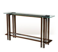 Console Table, Mahogany, Stainless Steel, Glass
