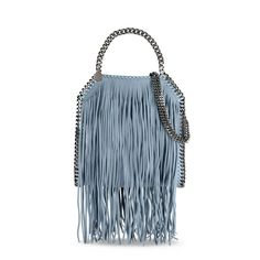 Duck Blue Falabella Shaggy Deer Fringed Mini Tote - Stella Mccartney Official Online Store - FW 2016 - 2017