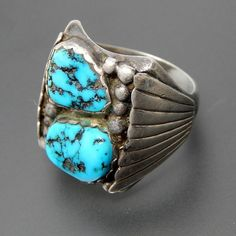 Native American Adam Fiero Navajo Sterling Silver Boulder Turquoise Men's Ring - Size 10.75