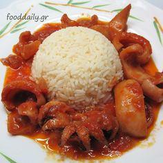Σουπιές κρασάτες - Cuttlefish with wine and tomato sauce