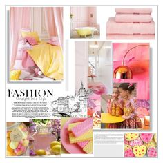 """""""Pink & Yellow Home Style"""" by evachasioti ❤ liked on Polyvore featuring interior, interiors, interior design, home, home decor, interior decorating, Christy and Simple Pleasures"""