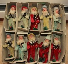 ANTIQUE / VINTAGE NORWEGIAN ? CHENILLE PIPE CLEANER CHRISTMAS TREE DECORATIONS in Home, Furniture & DIY, Celebrations & Occasions, Christmas Decorations & Trees | eBay