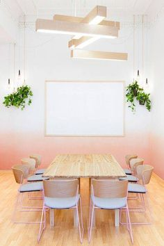 Ombre walls are interesting, but I'm pinning this for the pendant lights clustered w hanging plants.  Nice.