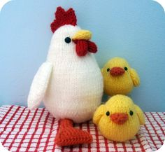Knit Chicken and Chicks Pattern Set