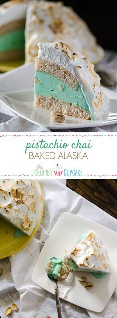 Pistachio Chai Baked Alaska | Pistachio almond ice cream, sandwiched between two layers of vanilla chai cake, all topped with fluffy meringue...and then baked! This old-fashioned dessert is as fun as it is delicious. #SundaySupper