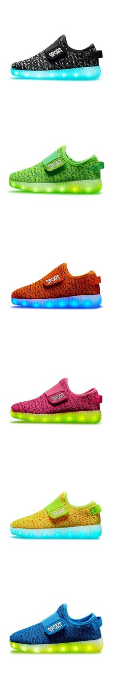 Children USB Rechargeable Led Sneakers Lightweight Kids Led Shoes Fashion Ye 350 Sneaker for Boys and Girls Casual Kid Shoes