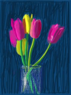 A David Hockney iPad painting (like the way Hockney has used tablets etc, to create art. David Hockney Ipad, David Hockney Art, David Hockney Paintings, Ipad Kunst, Pop Art Movement, Ipad Art, Flowers Nature, Artist Art, Frases