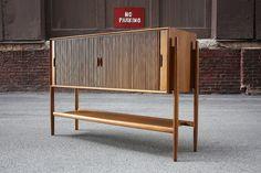 Pristine Midcentury Modern Drexel Parallel Tambour Door Sideboard Server Credenza (U.S.A.,1960)   by K2MODERN