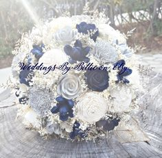 Navy Silver Chasmpagne Sola Bouquet Sola by WeddingsByBillie