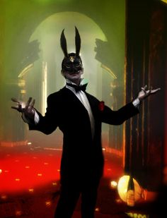 "Sander Cohen from BioShock. ""The Wild Bunny, by Sander Cohen. I want to take the ears off, but I can't. Bioshock Infinite, Bioshock 2, Bioshock Cosplay, Bioshock Splicer, Bioshock Rapture, Bioshock Series, Sander Cohen, Video X, Arte Horror"