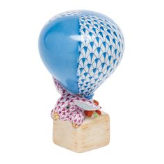 Hot Air Balloon w Bunny Herend Hand Painted Porcelain Figurine. Balloon in Blue Fishnet Bunny in Raspberry, Possible Gold Accents.