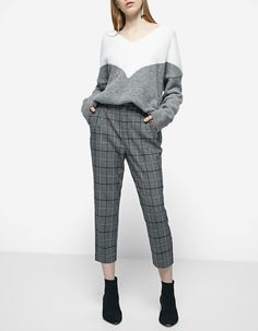 Checked carrot fit worker trousers - JUST IN | Stradivarius Israel