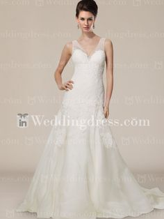 Organza V-neck V-back Lace Chapel Train Wedding Gown BC654@inweddingdress.com