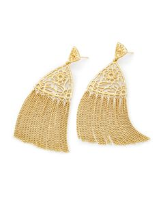 Shop tassel statement earrings at Kendra Scott. Featuring a gold triangle body and metallic chain tassel, the Ana Statement Earrings will complete any outfit.