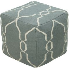 This is the pouf for you. Featuring a delicate diamond pattern, the teal and ivory coloring emit elegant simplicity.