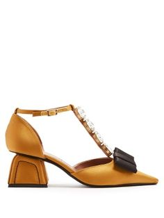 Marni's playful aesthetic is perfectly encapsulated by the sparkling crystals that adorn the T-bar front of these pumps. Stylish and contemporary in equal measure, they're crafted from sumptuous mustard-yellow satin to a squared point-toe silhouette with a bow at the front and elevated on an abstract block heel.