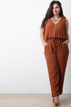 Chiffon Zip-Up Sleeveless Jumpsuit – Style Lavish