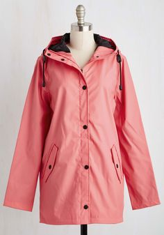 Storm and Stride Jacket. When the day appears dark and drizzly, a strut in this pink rain jacket brightens your entire being! #pink #modcloth