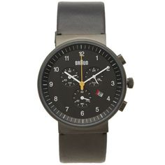 Buy the Braun Chronograph Watch in Black & Black from leading mens fashion retailer END. - only Fast shipping on all latest Braun products Omega Watch, Chronograph, Mens Fashion, Watches, Dieter Rams, Tack, Stuff To Buy, Accessories, School