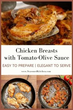 Chicken Breasts with Tomato-Olive Sauce are quick to prepare for every day and elegant enough for entertaining! Tomatoes, onion, garlic and olive flavors intensify while cooking, resulting in a delicious, colorful sauce. Quick Chicken Recipes, Turkey Recipes, Chicken Cutlets, Chicken Breasts, Easter Dinner Recipes, Incredible Recipes, The Fresh, Tomatoes, Onion