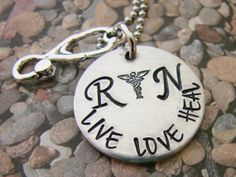 RN live love heal hand stamped jewelry by ChristinesImpression, $23.00
