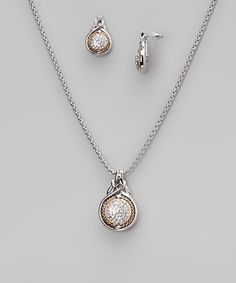 Take a look at this Silver & Gold Diamond Round Earrings & Pendant Necklace by Regal Jewelry on #zulily today!