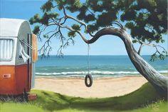 A Summer's Stay by Graham Young - Art Prints New Zealand New Zealand Image, New Zealand Art, Young Art, Nz Art, Kiwiana, Beach Art, Online Art, Cool Art, Fine Art Prints