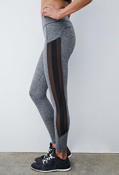 Heathered Mesh-Paneled Leggings | Forever 21 Canada