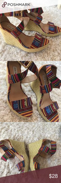 Steve Madden Wedges perfect condition, worn a few times but you cannot tell as shown in pics Steve Madden Shoes Wedges