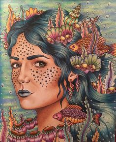 "437 Likes, 40 Comments - Maria Pain (@mcrpain) on Instagram: ""Finally finished my sea goddess!  Probably the most colourful colouring I've ever done! …"""