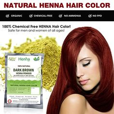 Dark Brown Henna Hair Color - 100% Organic and Chemical Free Henna for Hair Color Hair Care - ( 240 Gram = 4 Packets ) * Learn more @
