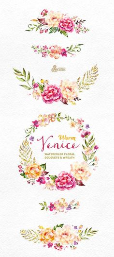 Warm Venice. Watercolor floral Bouquets and Wreath, popies, roses, wedding invitation, yellow, greeting card, diy clip art, flowers, clipart