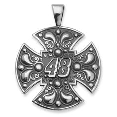 Fan Gear # 48 Jimmie Johnson STERLING SILVER LARGE MALTESE CROSS FOR MEN NAS03748