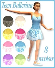 ModTheSims - Teen Ballerina-Athletic Wear for Teen Females-8 Recolors