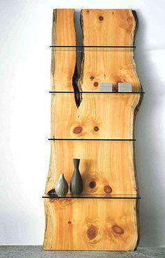 Natural wood slab with glass shelves Natural Wood Furniture, Log Furniture, Furniture Design, Natural Wood Crafts, System Furniture, Outdoor Furniture, Cheap Furniture, Bedroom Furniture, Wooden Shelves