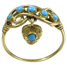 Antique Early Victorian Turquoise  Heart Locket Gold Ring  | From a unique collection of vintage more rings at https://www.1stdibs.com/jewelry/rings/more-rings/