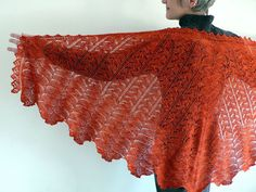 Maplewing pattern designed by Anne Hanson using Whisper yarn (now Chantilly Lace). Colorway shown is New England Red. Knitted Shawls, Crochet Shawl, Knit Crochet, Lace Shawls, Summer Knitting, Lace Knitting, Shawl Patterns, Knitting Patterns, Crocheting Patterns