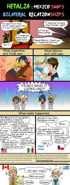 Hetalia mutual misundestands by chaos-dark-lord on DeviantArt Latin Hetalia, Hetaoni, Hetalia Funny, I Choose You, Dark Lord, Axis Powers, Global Warming, Mexico, Relationship