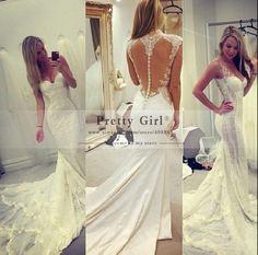 Sexy Romantic Appliques Lace Mermaid Wedding Dresses 2015 Cheap Fashionable vestido de noiva Vintage Wedding Dress Bridal Gowns