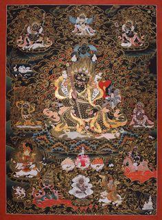Mahakala AC, ein Traumthangkas - Mahakala (mGon-Po) Thangka, Schwarzgrund-Thangka als zweiarmige Form des Mahakala. Wertvolle buddhistische Thangkas, Statuen und Mandalas. Marvelous buddhist Statues, Mandala and Thangka from Snow Lion.