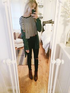 Outfit today - Urban skinny jeans w/ rips, striped pastel mint shirt, Urban cardigan, Franco Sarto ankle boots  much love & happy monday
