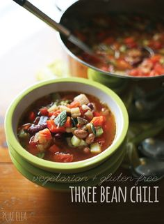 Hearty and Healthy Vegetarian Three Bean Chili - if you're making for kids, cut down the chili powder.  www.kurbo.com