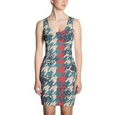 Red and Green Houndstooth Print - Fitted Dress - DogzPrinted