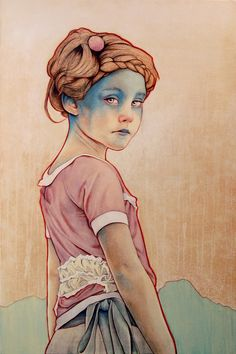 illustration of a small girl - beautiful water colors #design #painting